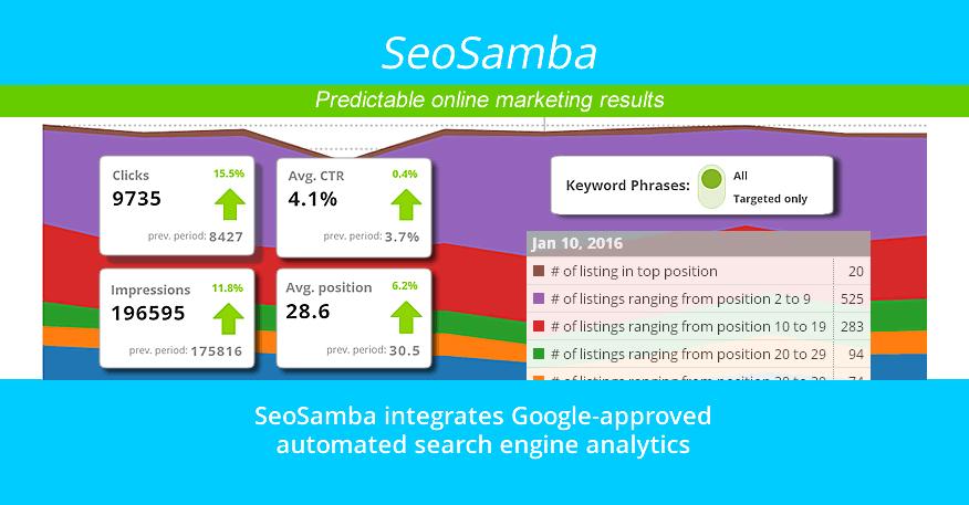 SeoSamba integrates Google-approved automated search engine analytics